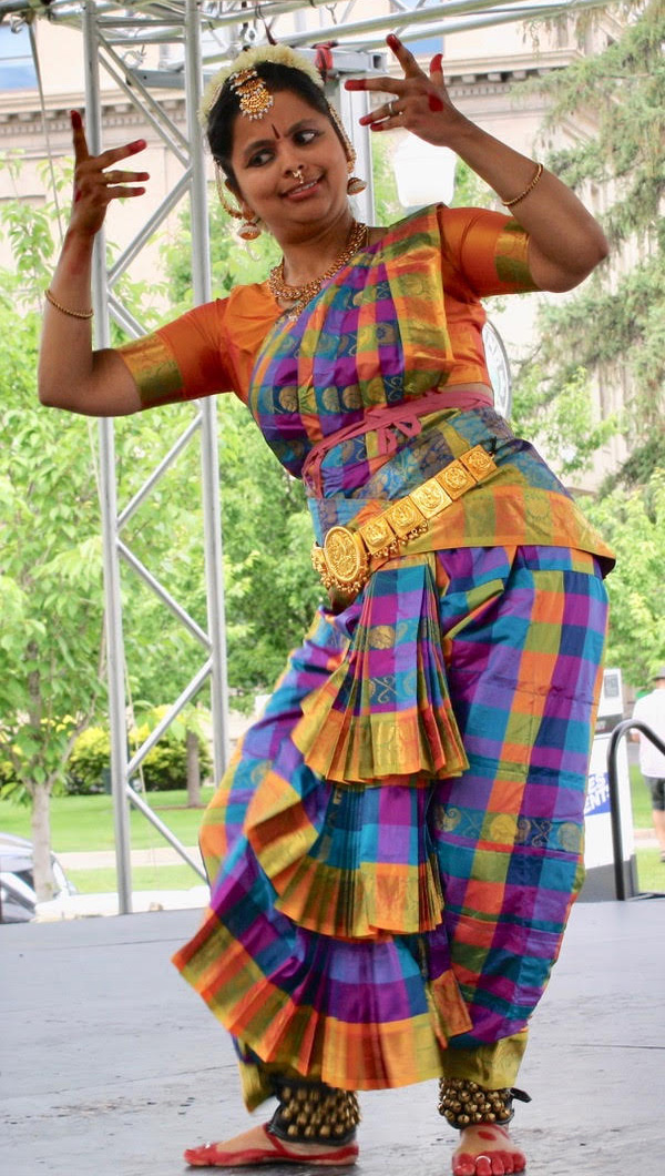 Padma Gadepally performs an expressive piece on the World Village Fest Stage.