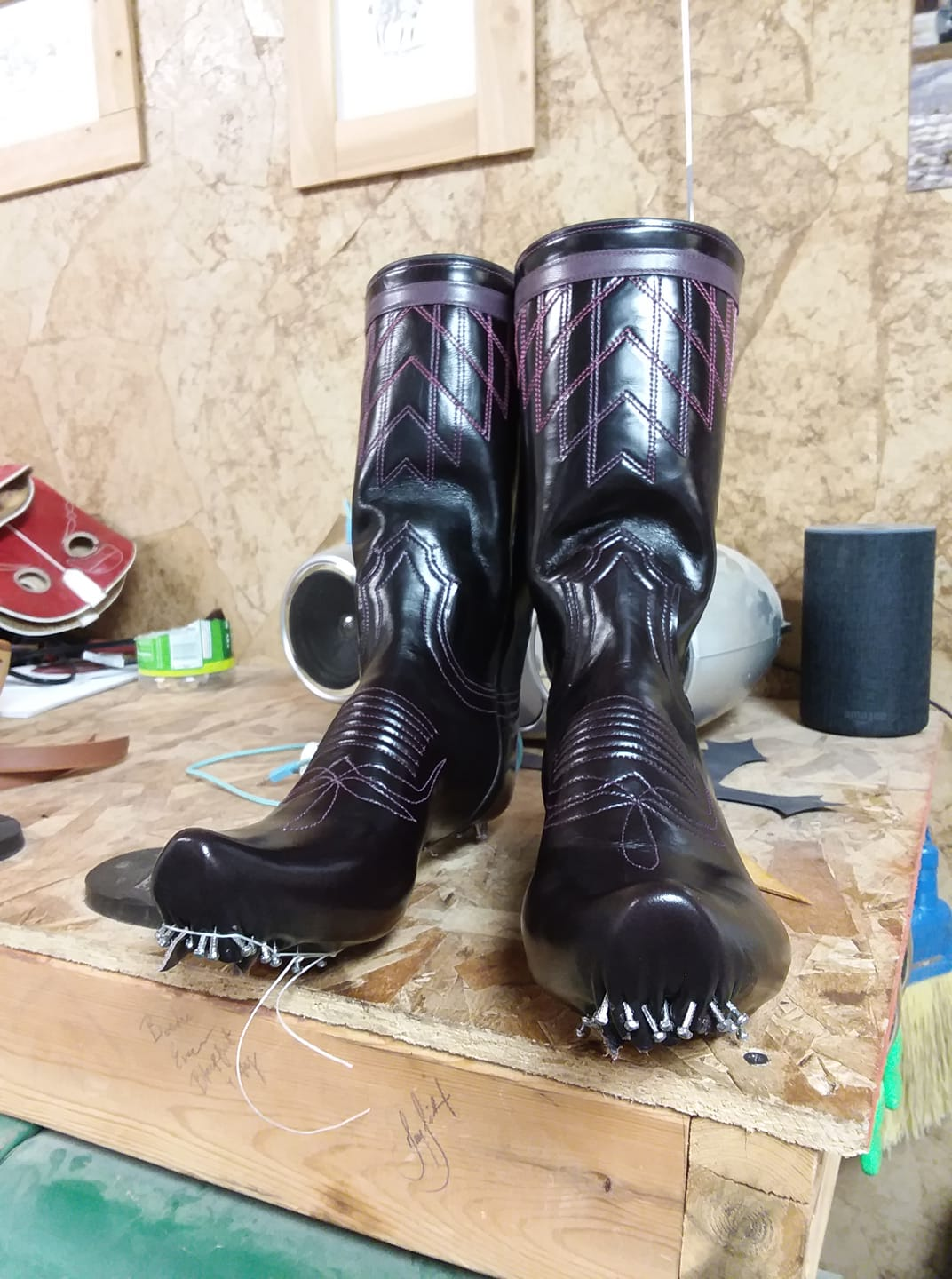 Around 35 nails per boot were used to shape the leather around a wooden last that will give the boot shape. Photo by Natalie Teichert.