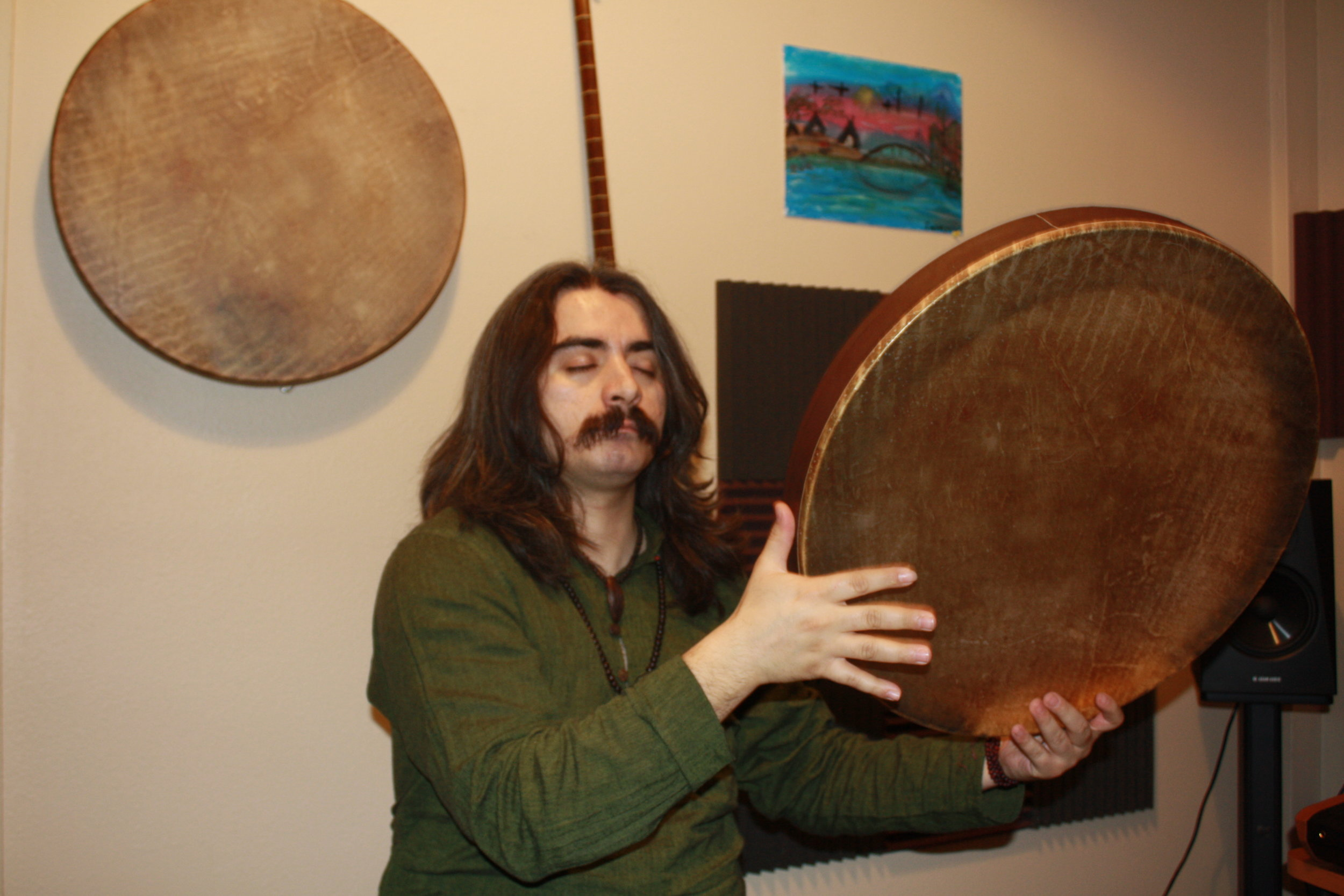 """""""When you're closing your eyes ... you're seeing yourself inside,"""" says Jan Porvas about playing the daf in this way."""