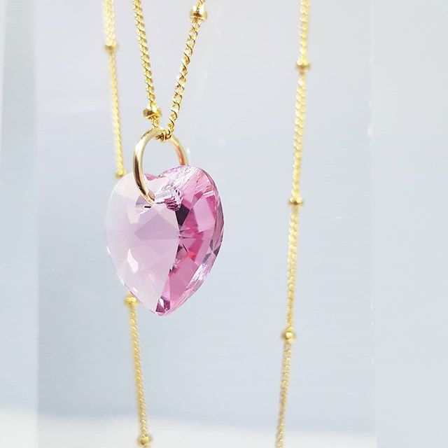 Pink Swarovski Crystal Heart And 14 Karat Gold. A Perfect Combination And A Beautiful Addition To Your Jewelry Collection. Coming Soon.