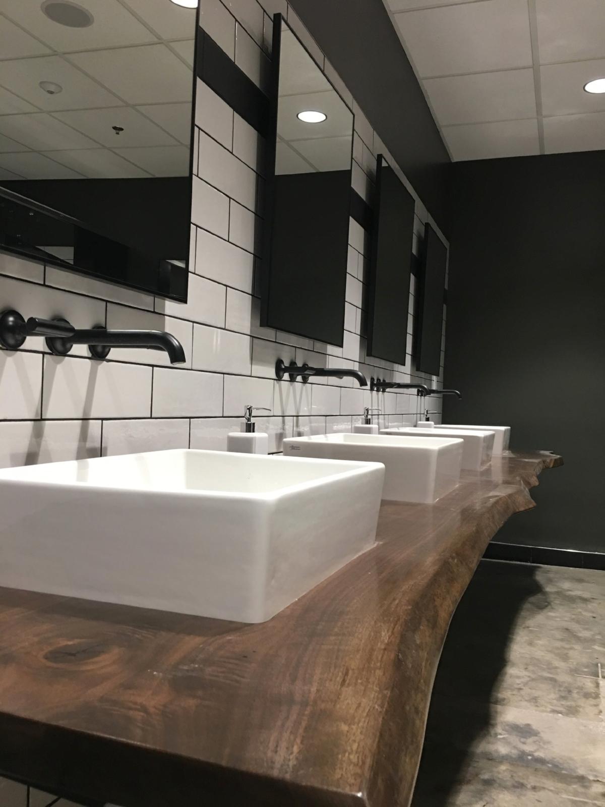 Live edge wood countertop with epoxy sealant