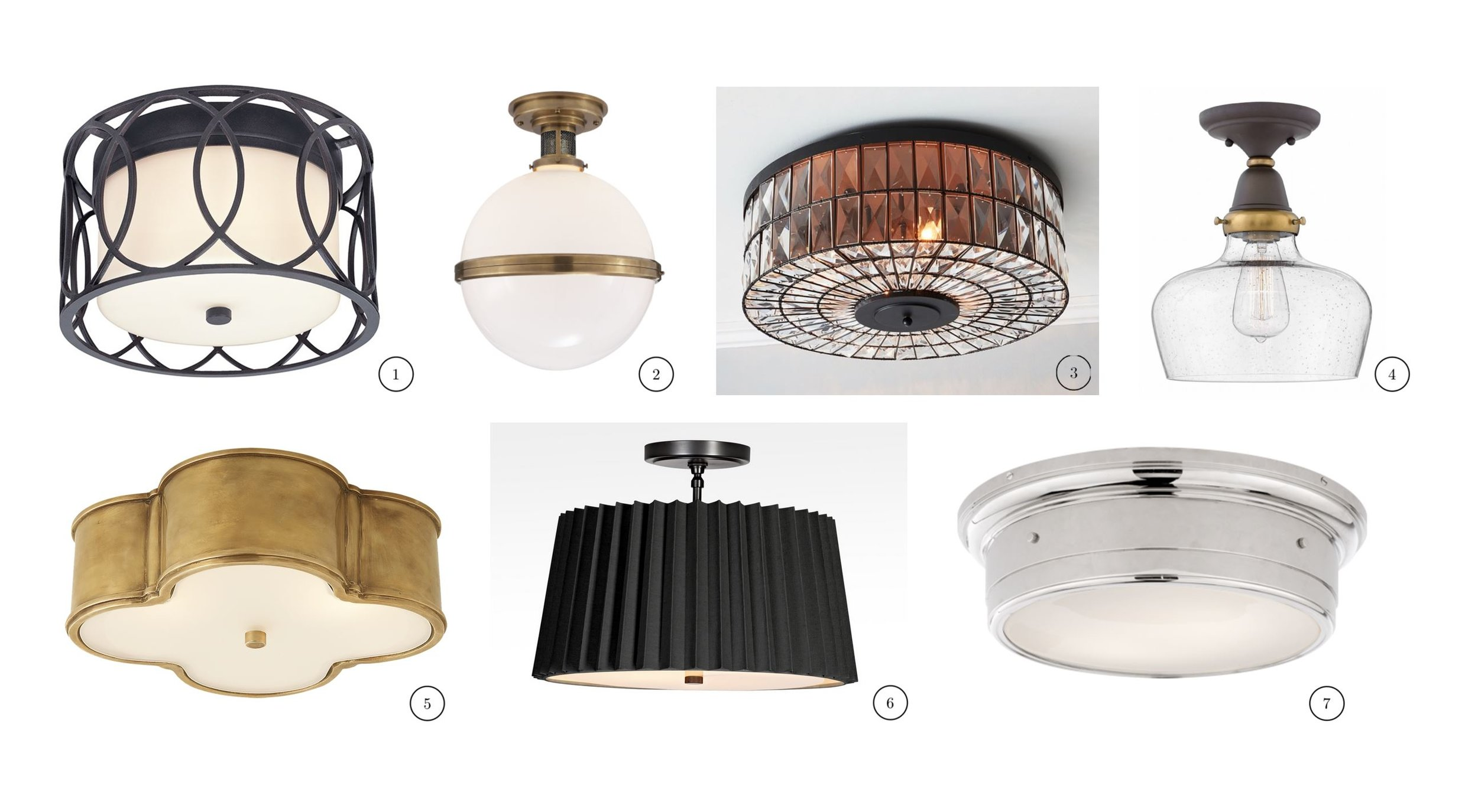 "1. Troy Lighting – Sausalito | 2. Visual Comfort -McCarren Large | 3. Pottery Barn – Adeline Oversized Crystal | 4. Hinkley – Academy | 5. Visual Comfort – Basil Large | 6. Rejuvenation – Barton 18"" Pleated Drum 