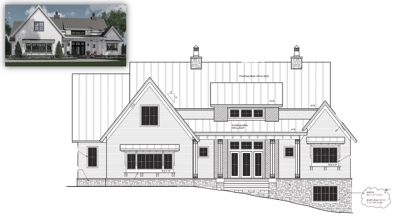Original plans and rendering by  Royal Oaks Design . Modification to elevation by DOVETAIL