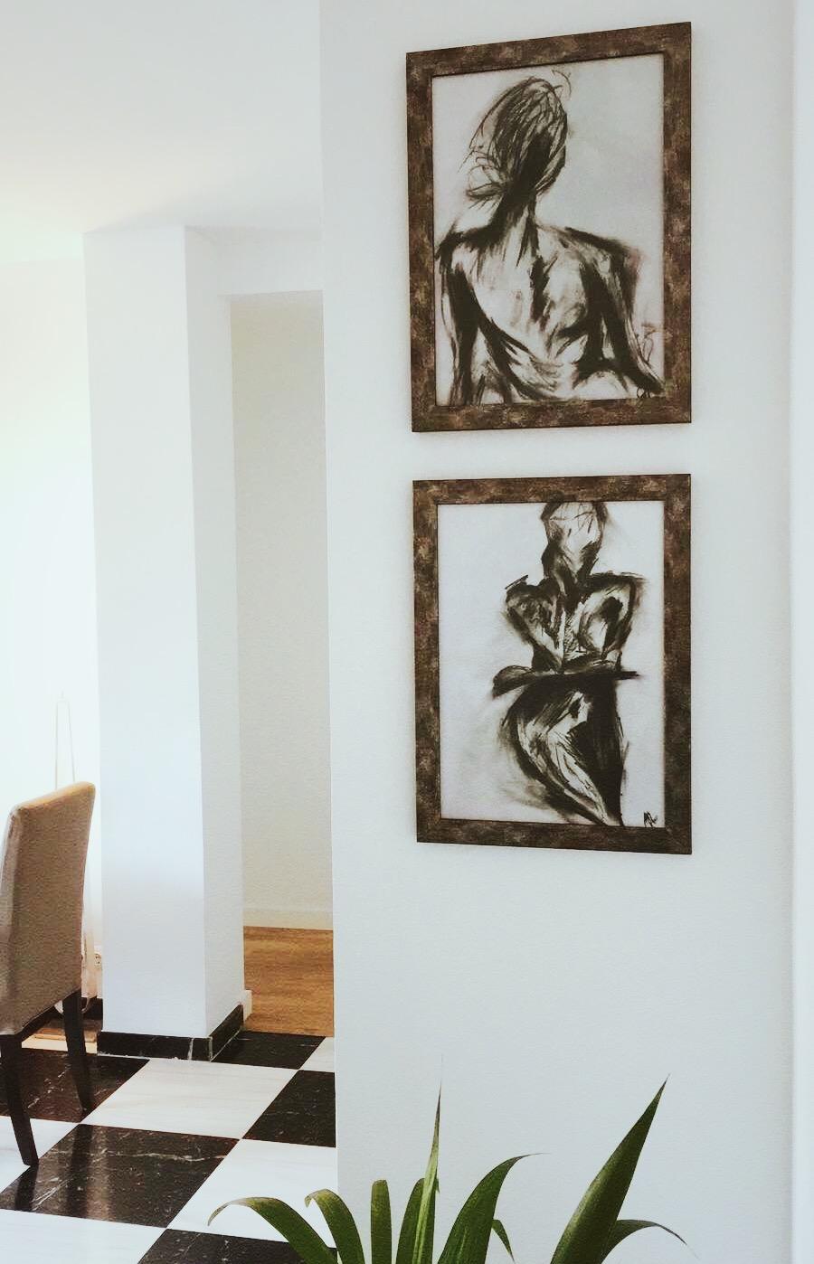 Charcoal prints in a Palma de Mallorca home, 2018.