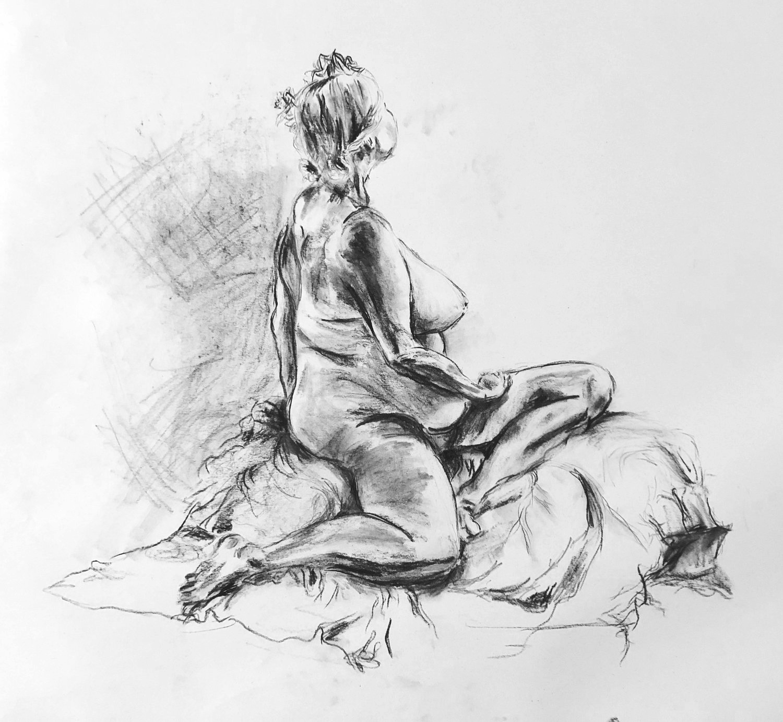 Nude model in class, 2018.