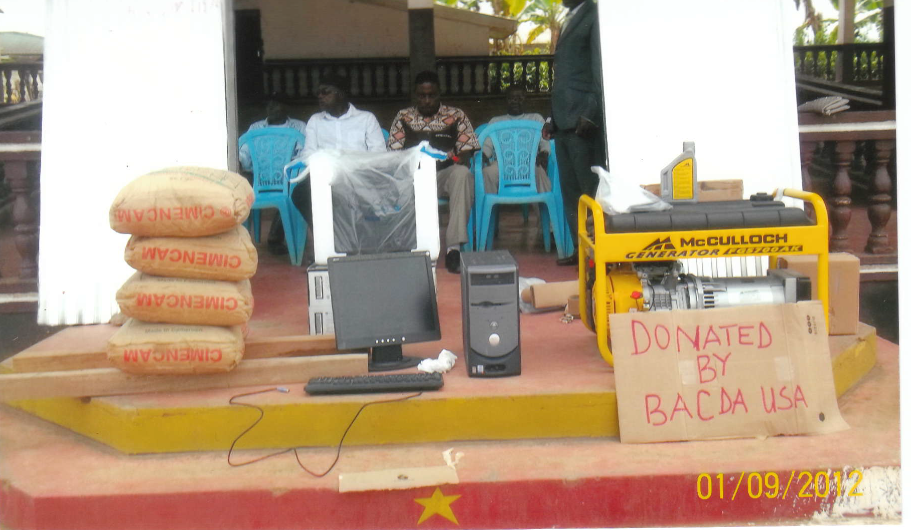 Donations from BACDA USA - Project carried out by the Education Committee. Building Supplies, Computers and a generator.