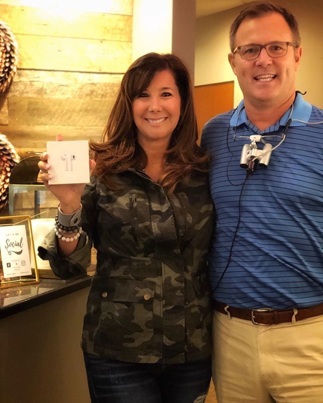 Congratulations, Tammy Russell, winner of the Airpods in our August giveaway! We are so thankful for our wonderful patients!  #kempdental #giveaway #airpods #highestlevelofcare #brushandfloss #nashvilledentist