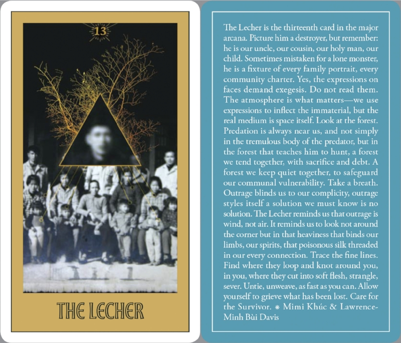 """The Lecher,"" text by Mimi Khúc & Lawrence-Minh Bùi Davis, art by Monica Ong, from the Asian American Tarot in ""Open in Emergency: A Special Issue on Asian American Mental Health,"" published by  The Asian American Literary Review ."