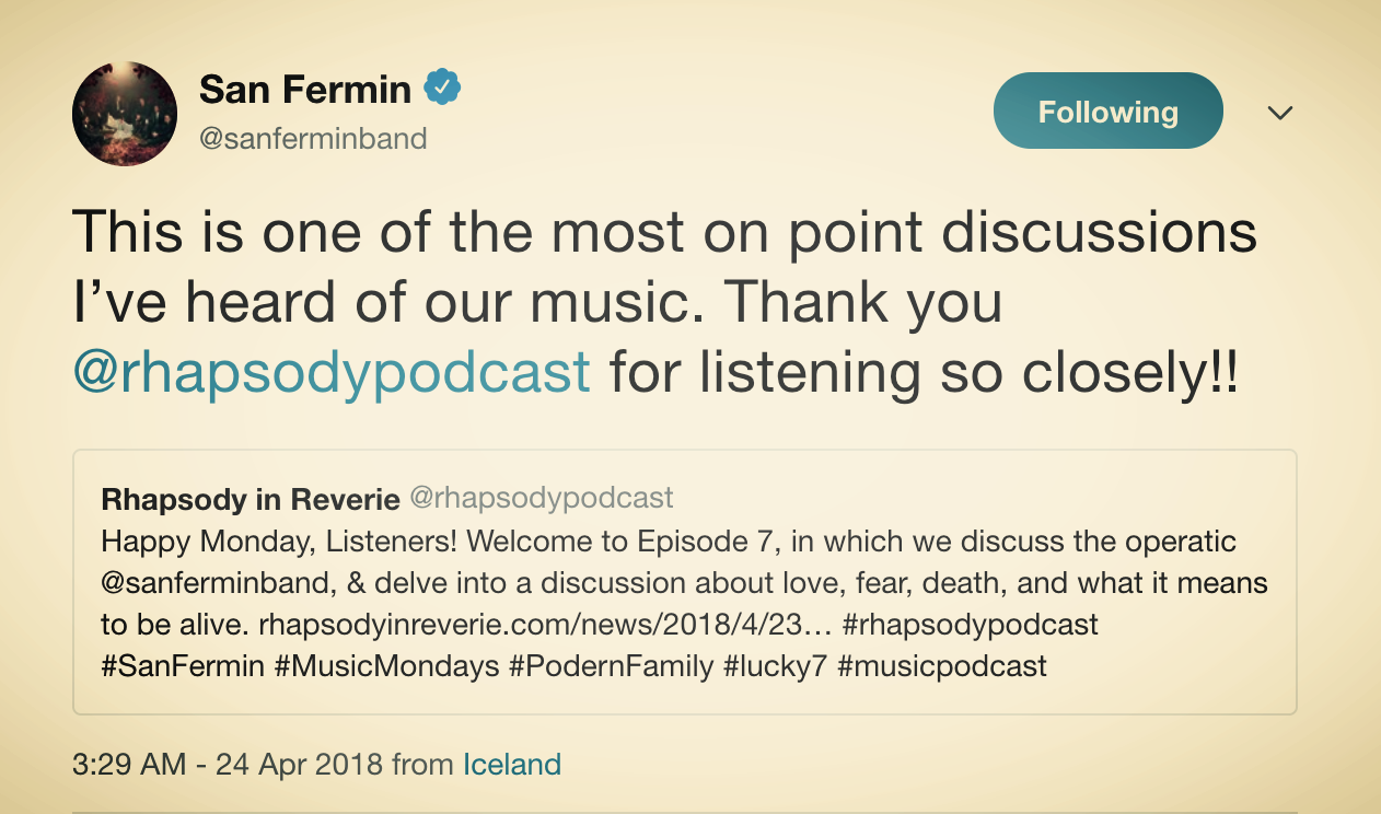 San Fermin on Episode 7
