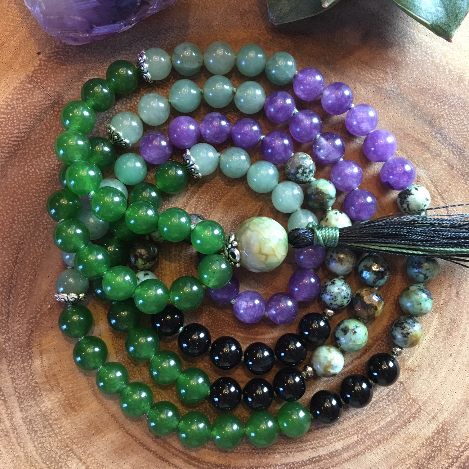 Wholeness and Wellness Mala  (8mm) made with Taiwanese Jade, Green Aventurine, African Turquoise and Amethyst.
