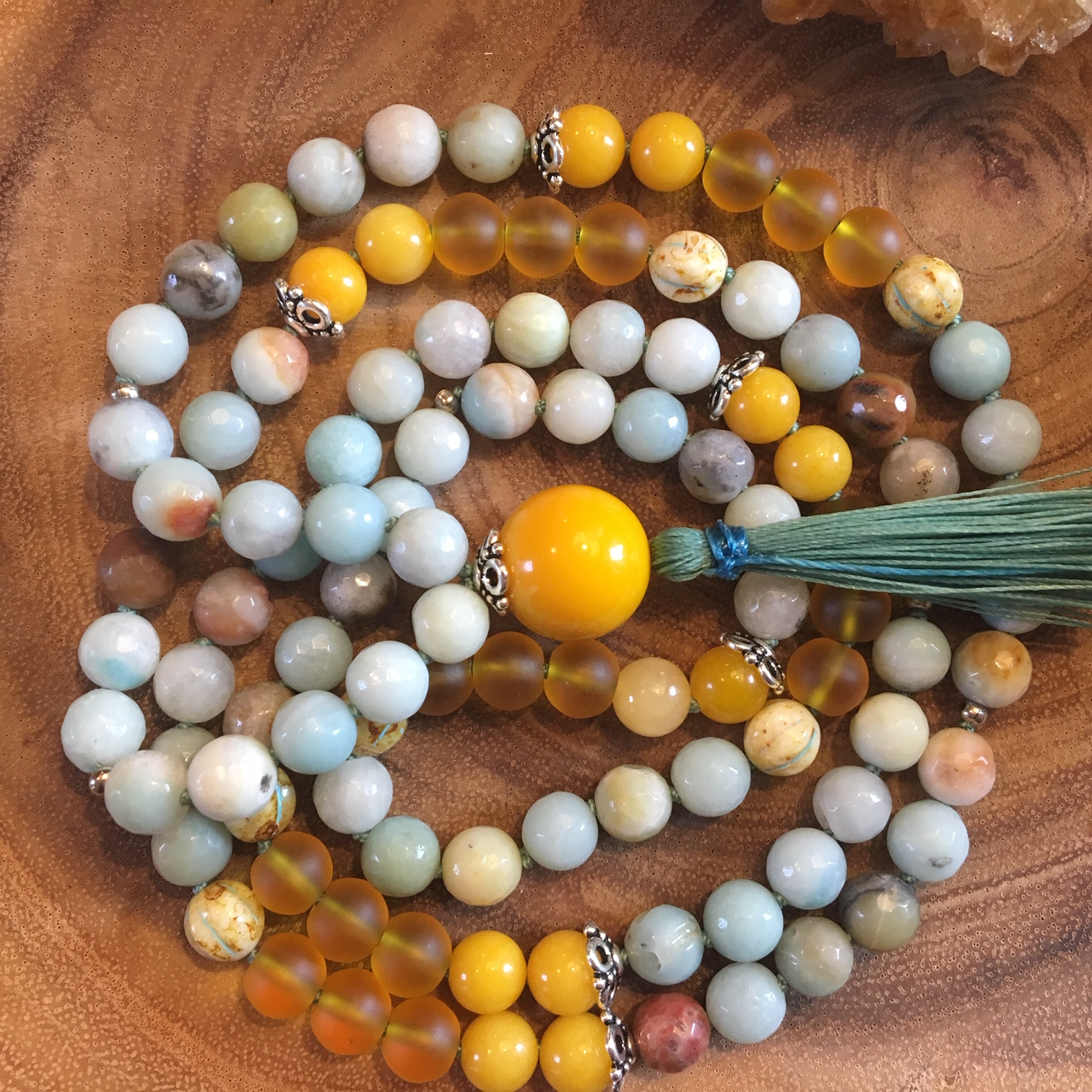 Be Joyful Mala  (8mm) Made with Yellow Agate, Amazonite, Dessert Gold Sea Glass and Piacasso beads.