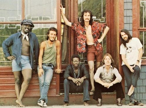 The E Street Band 1972 (L to R): Clarence Clemons, Bruce, David Sancious, Vini 'Mad Dog' Lopez, Danny Federici, Gary W. Tallent