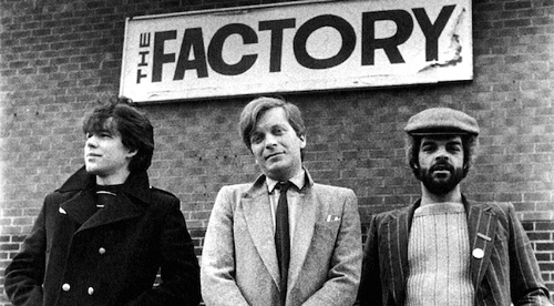 Peter Saville, Tony WIlson, and Alan Erasmus outside the Russell Club, the original location of Factory Nights, the origination of Factory Records