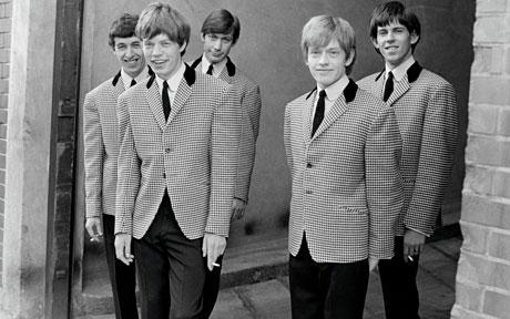 "The early days, before becoming ""the most dangerous band in the world:"" Bill Wyman, Mick Jagger, Charlie Watts, Brian Jones, Keith Richards"