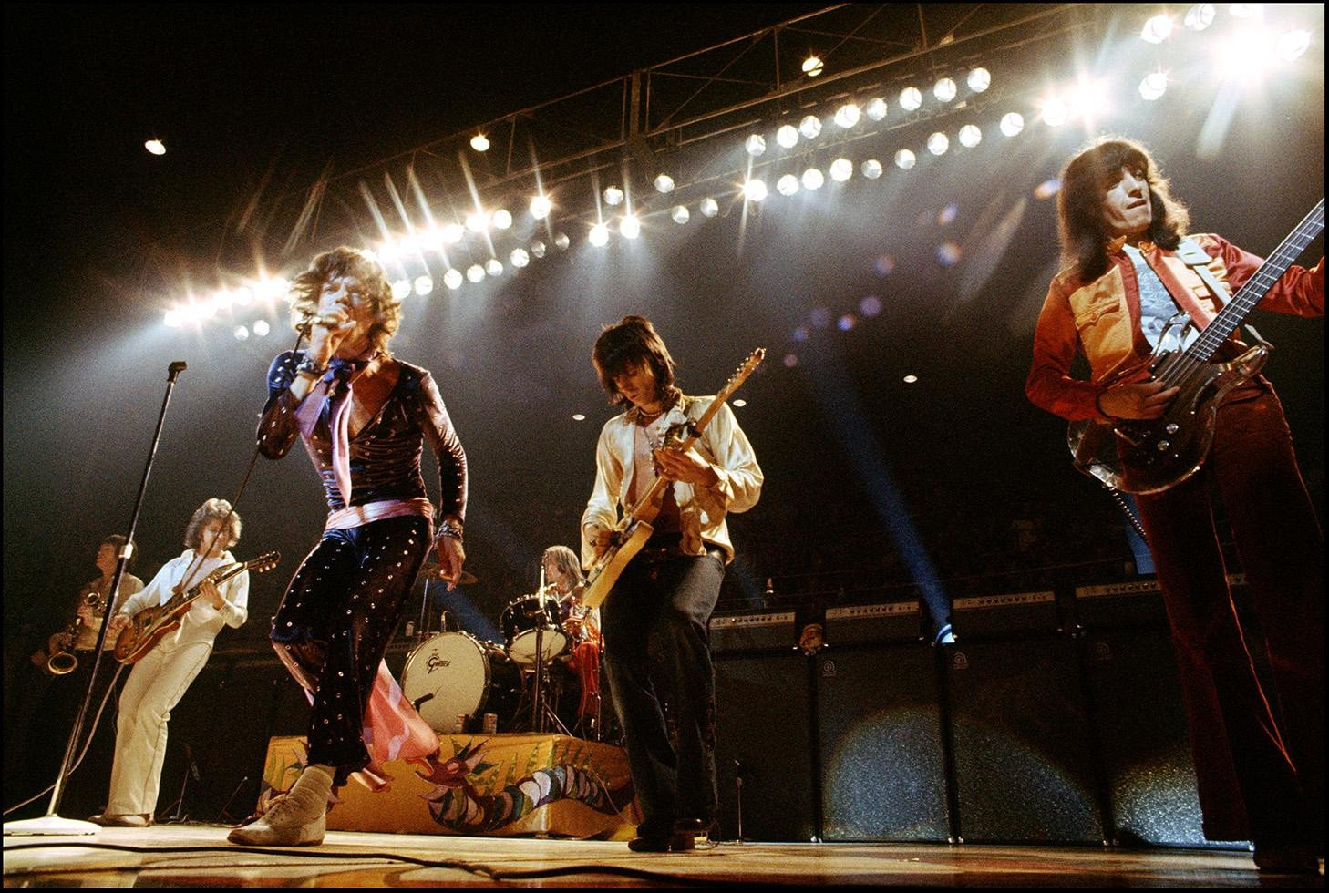 1972, Going glam, now with Mick Taylor on guitar, left, along with Mick, Charlie, Keith, and Bill