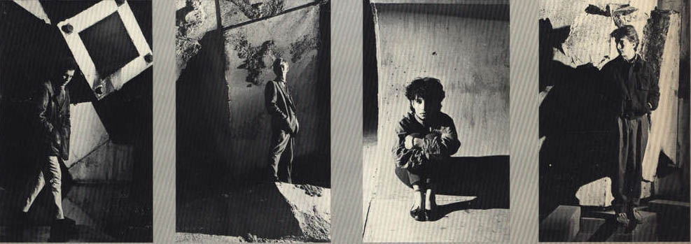"""The band's photos from the back jacket of the single, """"Rotting Geraniums"""": Cal Stephenson, Mark Jowett, Madeleine Morris, and Tom Ferris"""