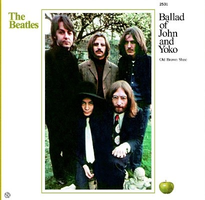 """Cover of the single for """"Ballad of John and Yoko,"""" which included Yoko as if a member of the band"""