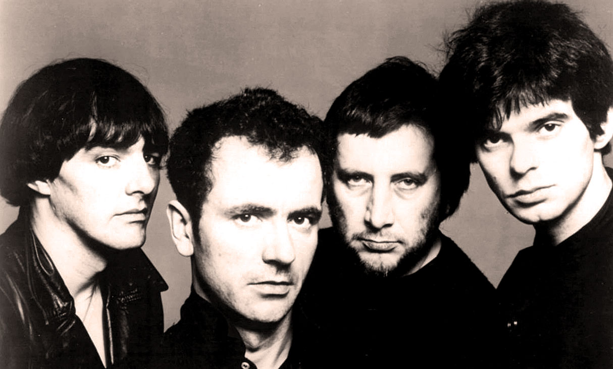 The Stranglers in 1977: Dave Greenfield, Hugh Cornwell, Jet Black, and Jean-Jacques (JJ) Burnel