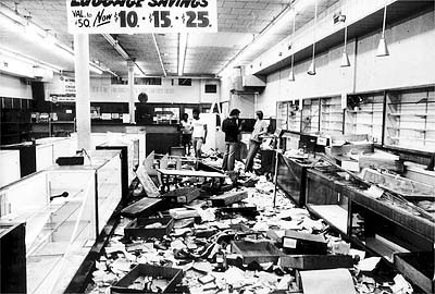 A looted store from the 1977 blackout in New York