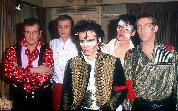 Adam and the Ants circa  Kings of the Wild Frontier : Marco Pirroni, Chris 'Merrick' Hughes, Adam Ant, Kevin Mooney, and Terry Lee Maill