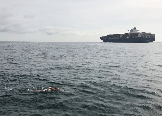Swimming across the English Channel in the summer of 2017.