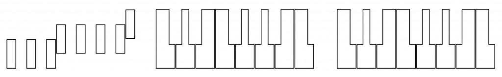 Links: die weissen Tasten der Fokker-Klaviatur, Mitte: Vicentino, rechts: Trasuntino