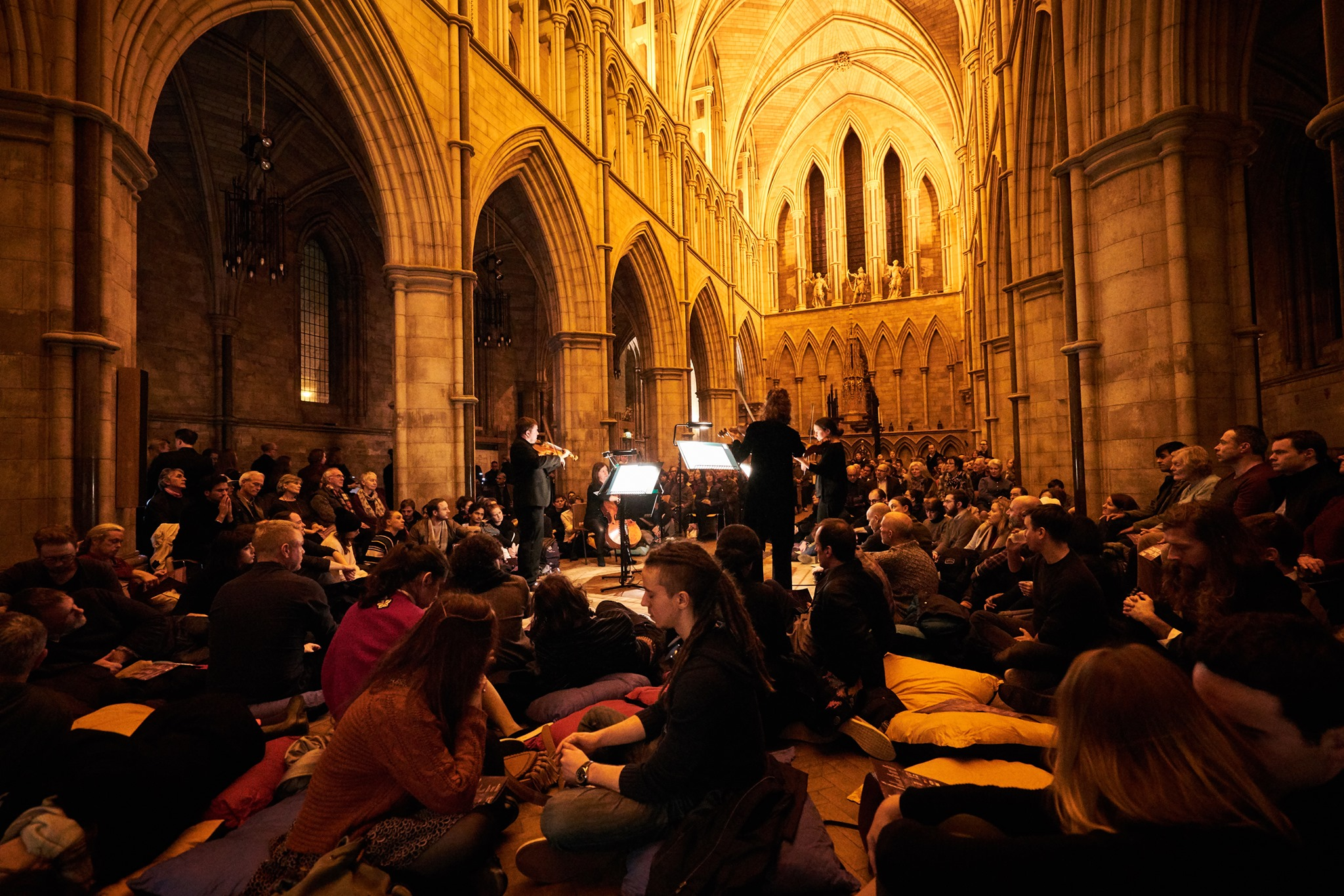 The Fruit of Silence - 3-23 October, 7.30pm, £20-£25 (16-25s £5)Worcester, Exeter, Bristol, Liverpool, Sheffield, Bradford, Truro, Llandaff, LichfieldExplore the stunning architecture of your local cathedral with a live orchestral soundtrack by the City of London Sinfonia. Prop yourself up on cushions or roam freely while chilling to the meditative music of Arvo Pärt and Dobrinka Tabakova, and hear ancient choral melodies that have resounded in our cathedrals across centuries. Aaaaand…relax.