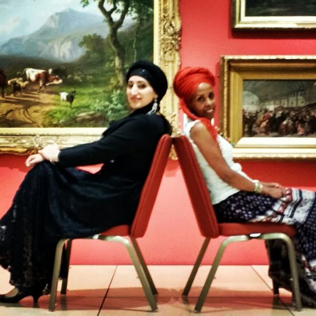 2 singers in an art gallery @journeysfest #archivephoto #leicester #allaboutmigration @haymanottesfa @sarahthesufi #backtoback