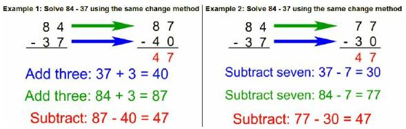 same change subtraction rule