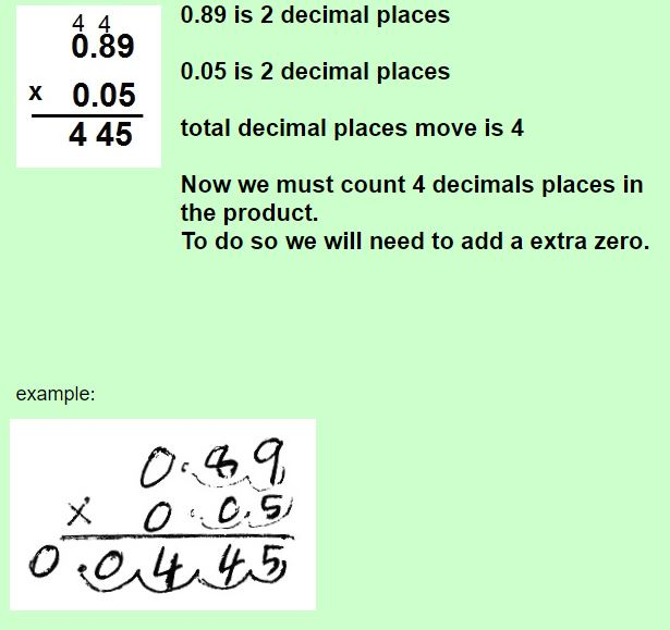 multiplying decimals with zero in the product