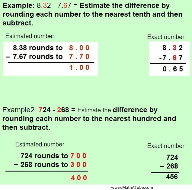 estimating decimal difference