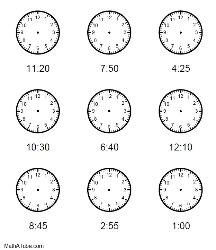 draw the hands on clock worksheets