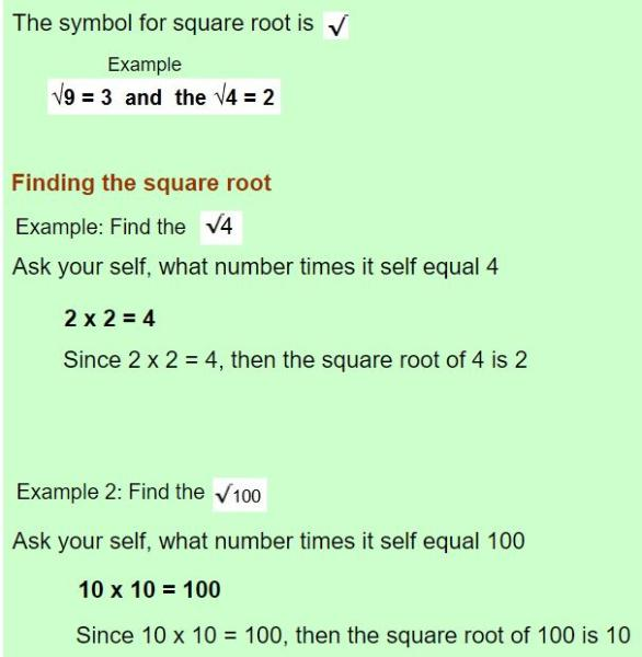 square root of numbers