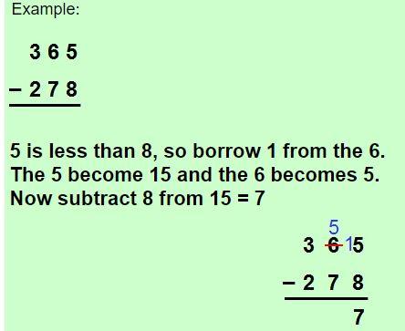three digit subtraction