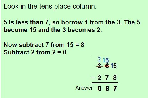 three digit subtractions