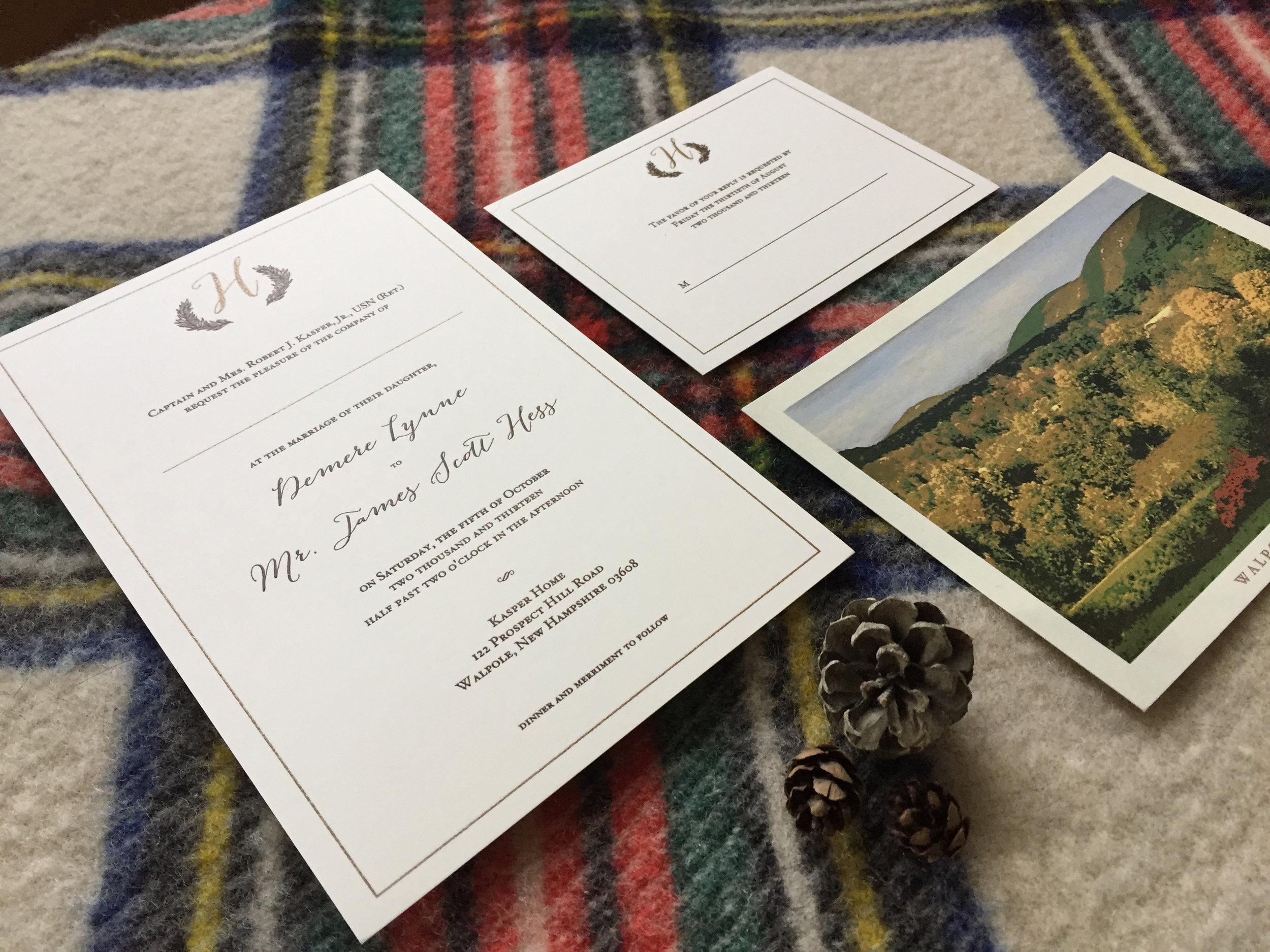 Classic Traditional Custom Gold Wedding Invitations