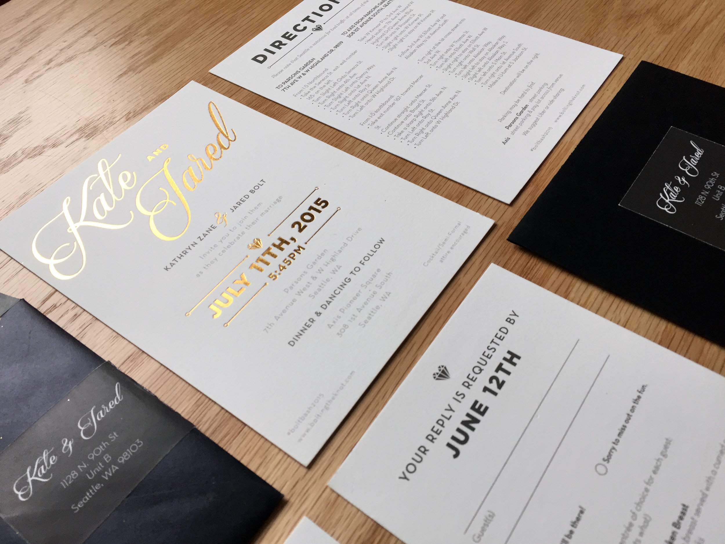 Modern Wedding Invitations with Metallic Gold Foil