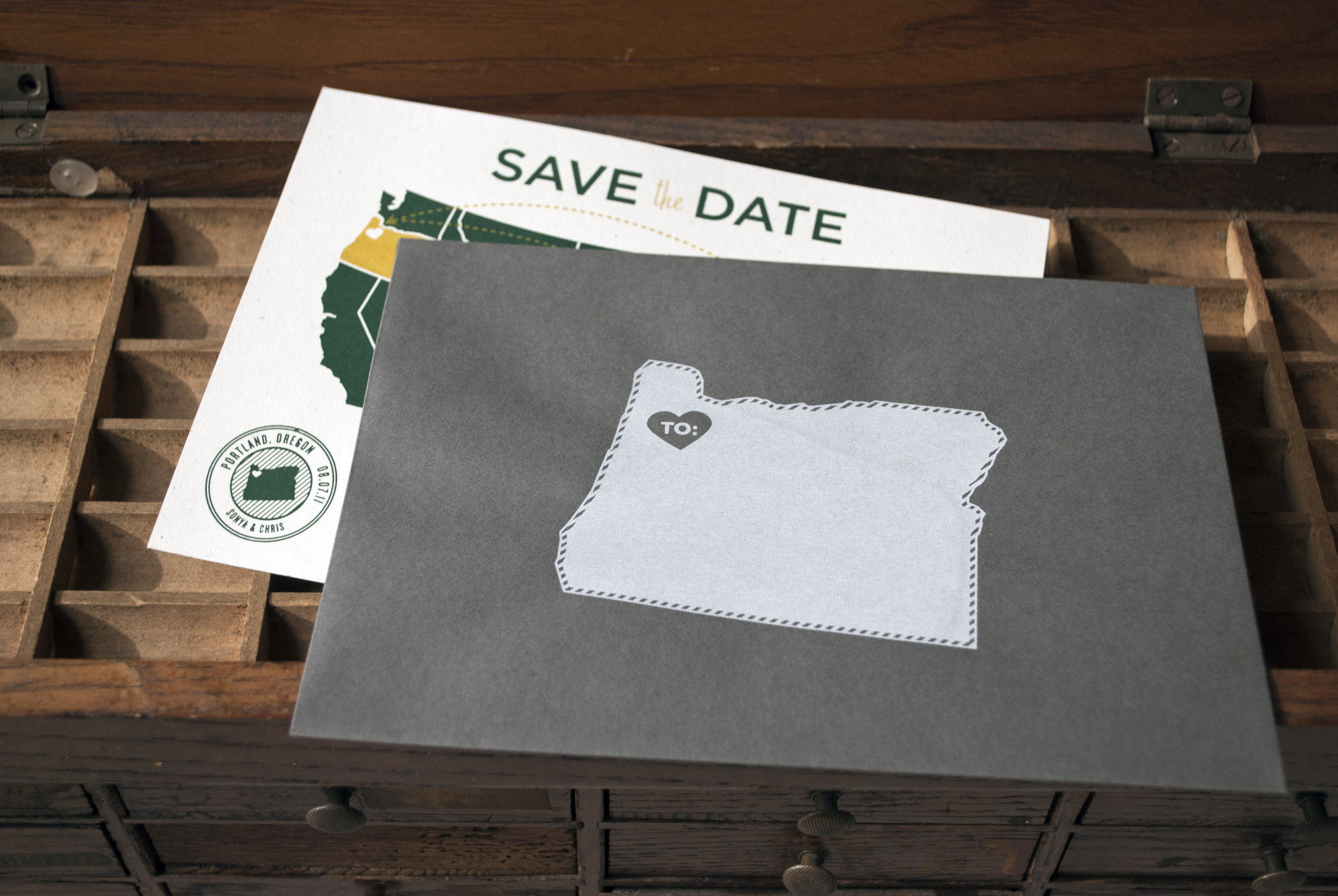 Screenprinted Vintage Inspired Wedding Save the date