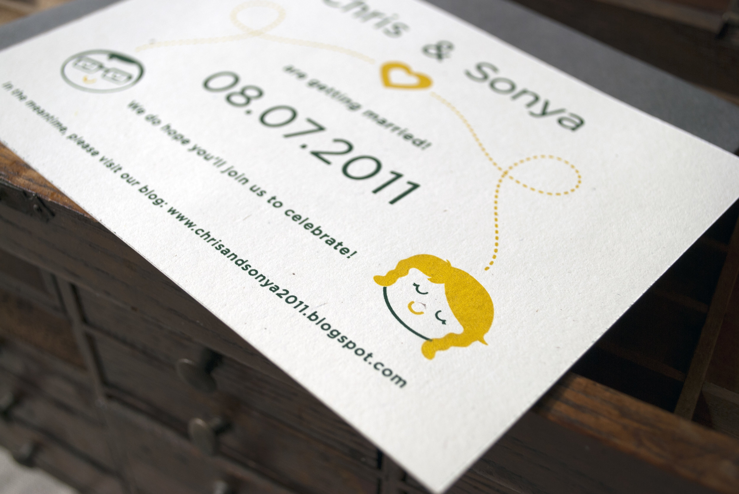 Screenprint Vintage Inspired Wedding Save the date