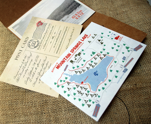 Rustic campground vintage style wedding invitation map