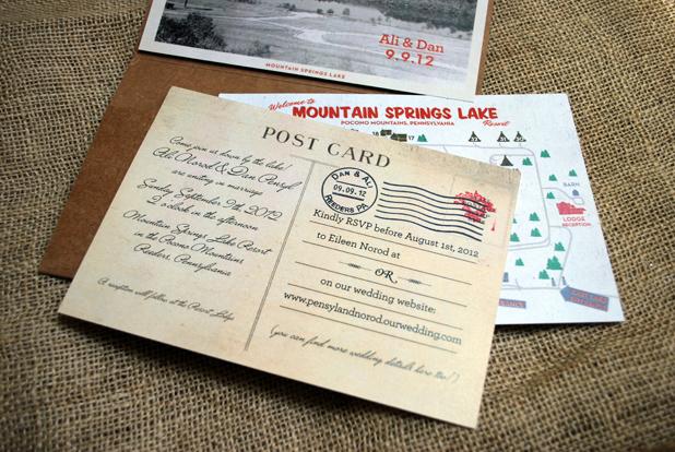 Rustic campground vintage style wedding invitation