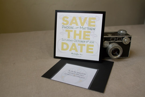 Art deco style wedding save the date design