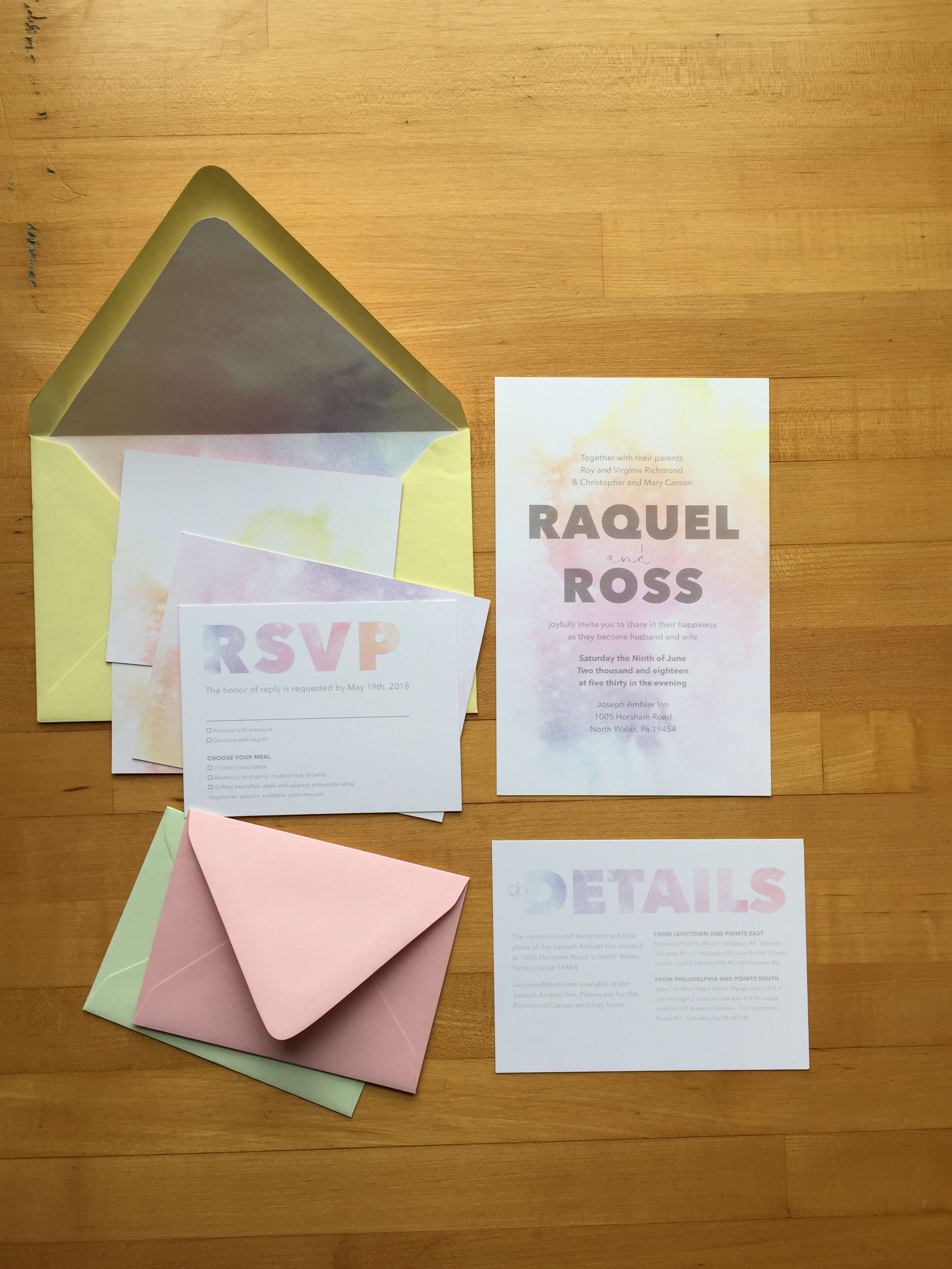 Watercolor pastel inspired wedding invitation design