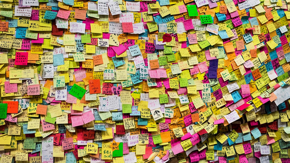 (Not an actual wall of his house) Photo Credit:  https://hbr.org/2015/05/the-surprising-persuasiveness-of-a-sticky-note