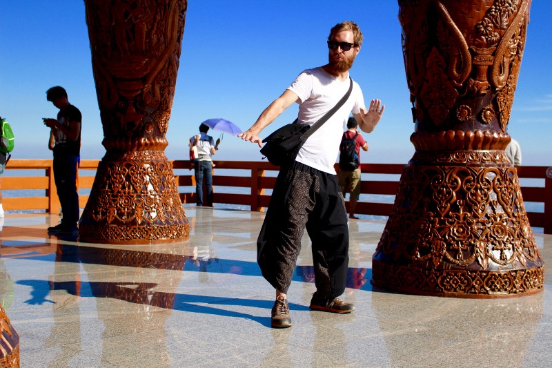 Me rocking my samurai pants… with hiking shoes…