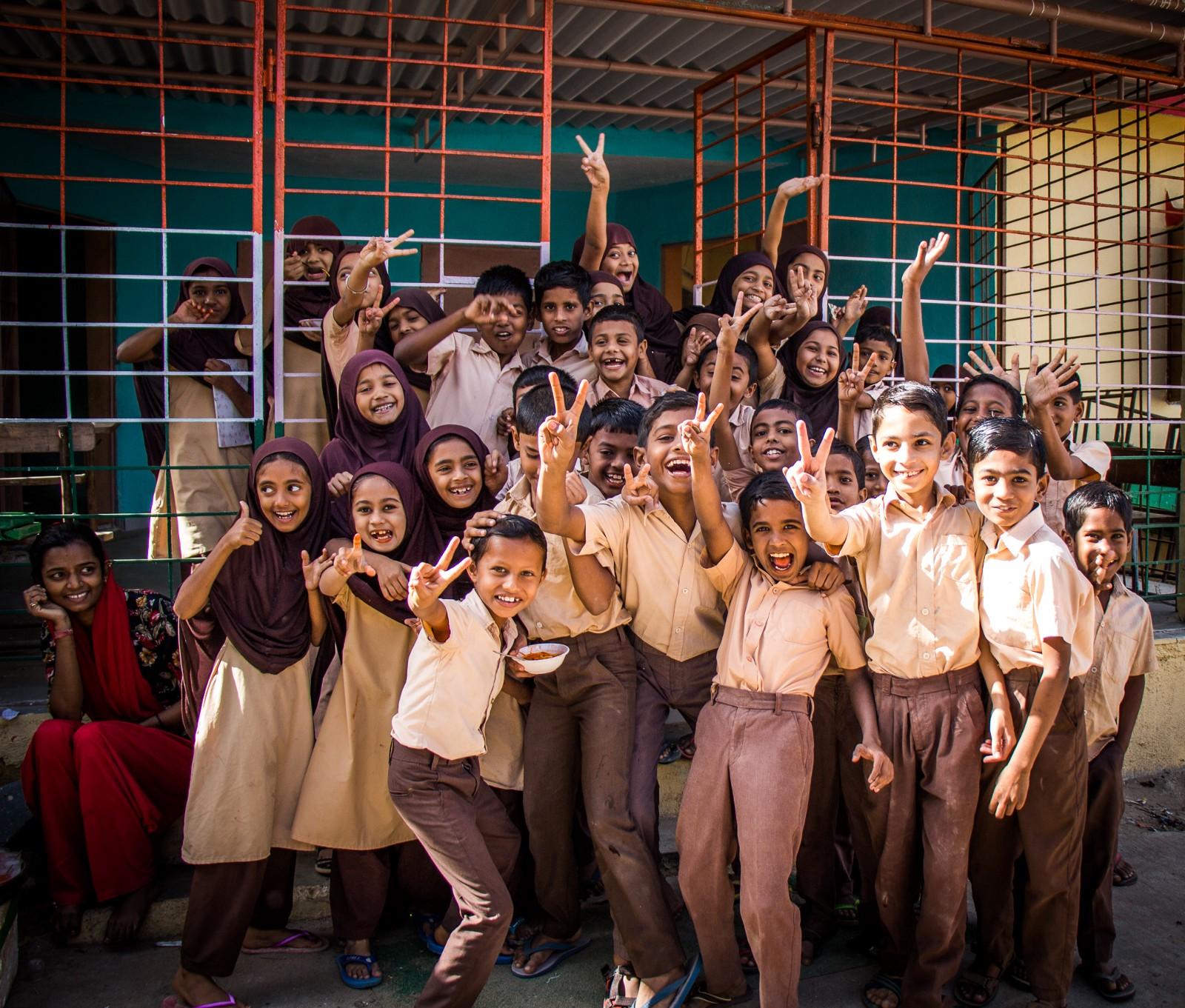 Smily kids of the Z.P. Urdu school. Photo taken for  Sundara .