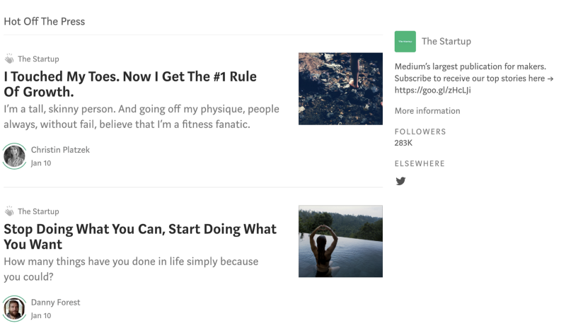 First front page of The Startup