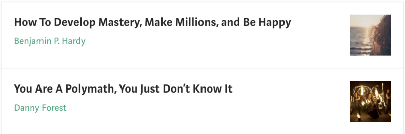 Person clapping for both myself and  Benjamin P. Hardy , Medium's top writer