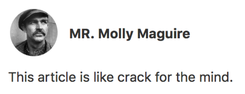 Awesome comment by  MR. Molly Maguire