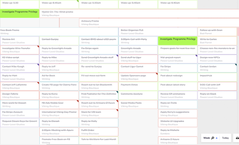 Teamweek screenshot of some of the tasks I'm doing (you don't see half of it…). Different colors indicate different projects.